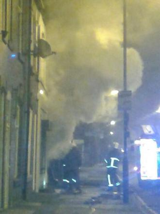A fire at Cafe Fresh in Church Street West, Radcliffe, which may have been caused by an arson attack.