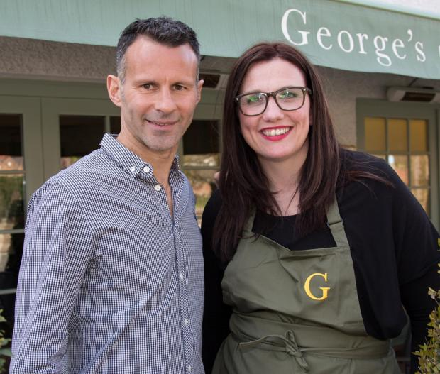 Ryan Giggs at his restaurant with Horwich chef and The Taste winner Debbie Halls-Evans