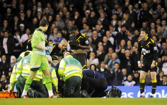 Medics fight to save Muamba's life on March 17, 2012 at White Hart Lane