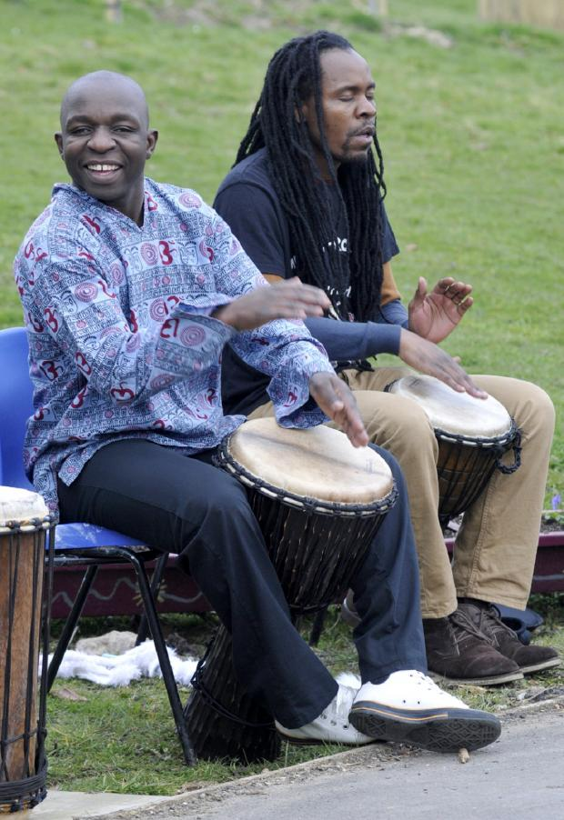 The Bolton News: Drummers Nevel Phiri, left, and Sandile Mpande