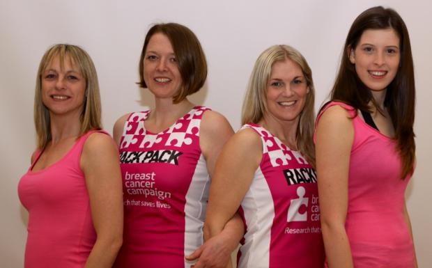 From left, Lisa Davis, Kezia Malpus, Melissa Pettigrew and Summer Jones are raising money for the Breast Cancer Campaign