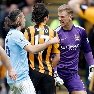 George Boyd, centre, and Joe Hart, right, clashed during last Saturday's game at the