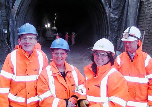 Cllr David Chadwick, Julie Hilling MP and Bethan Dale from Network Rail's projects team