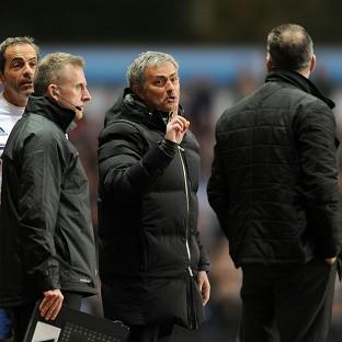 Jose Mourinho, centre, was sent off during Chelsea's defeat at Aston Villa