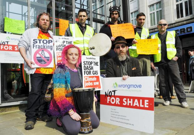 The Bolton News: Back, from left, anti-fracking protesters Simon Mortimer, Alex Brocklehurst, Saffron Ali, Adam Marshall and Darren Tickle. Front, Sally Bowman and Frank Murphy