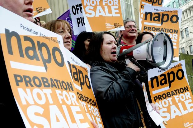 Probation officers in Bolton protesting against privatisation plans