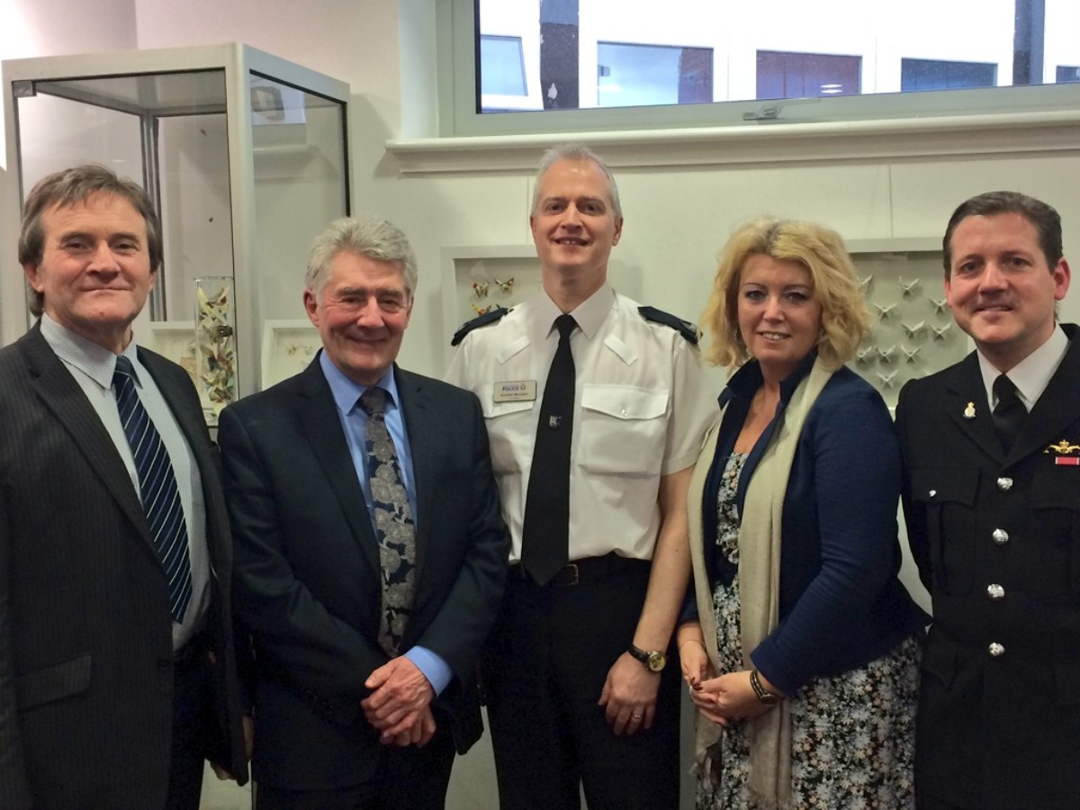 Deputy head teacher Pete Hodkinson, Tony Lloyd, Andrew Marsden, Baroness Helen Newlove and