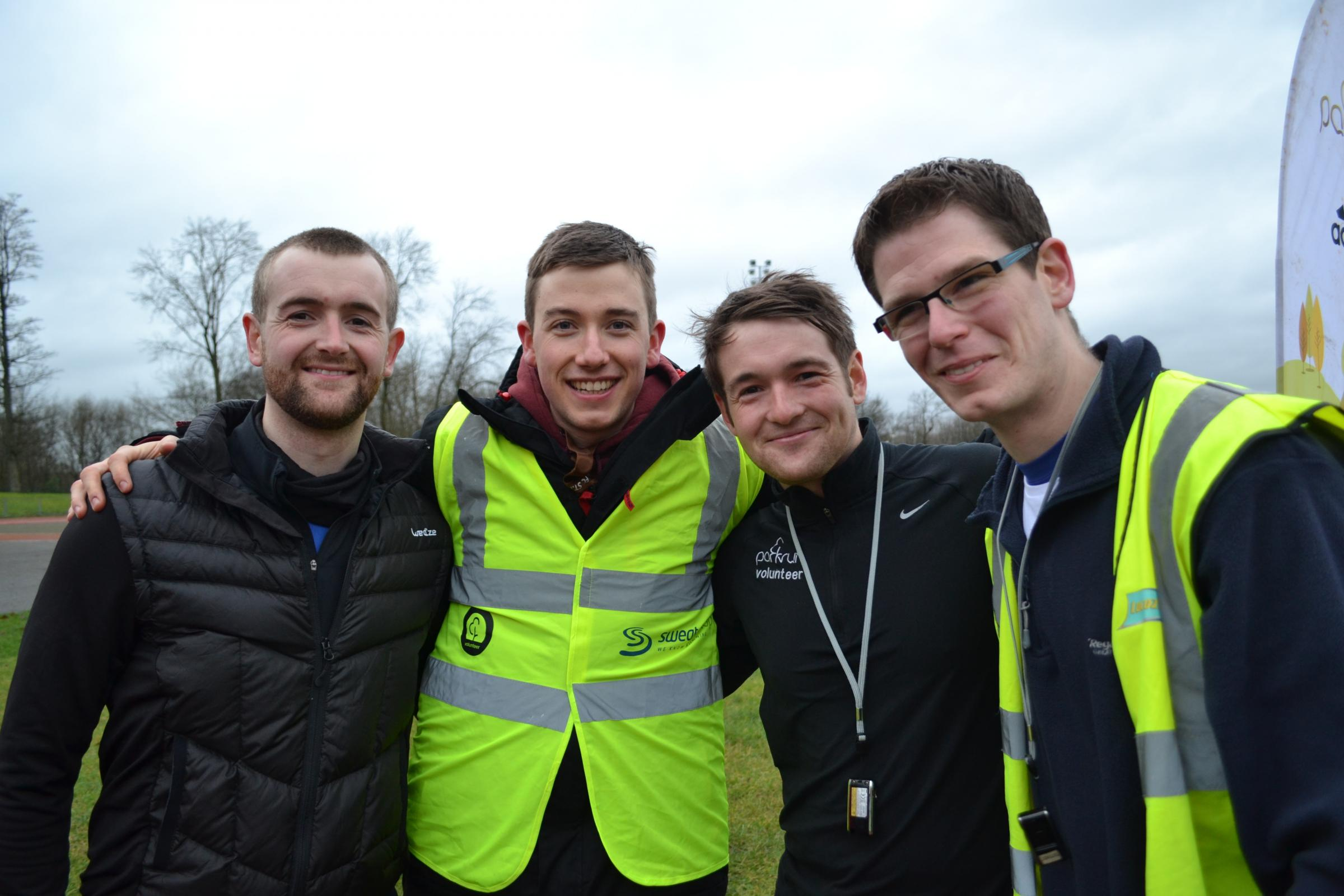 Rowan Ardill (second from right) with fellow Bolton parkrun directors David Ardill, left, Alistair McArthur, second left and Andrew Patterson