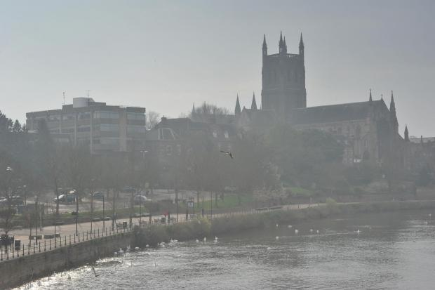 Smog over Worcester Cathedral on Wednesday.