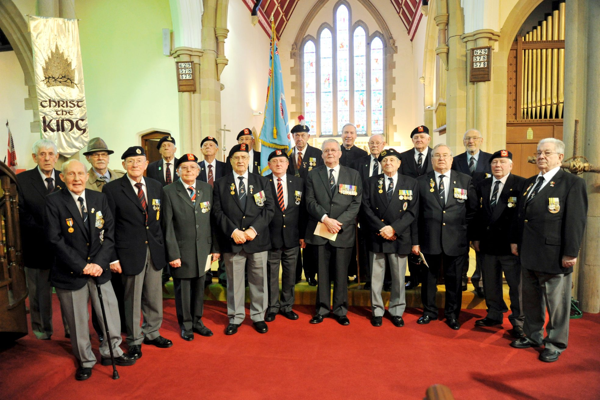 Members of the British Korean Veterans' Association Greater Manchester branch at Christ Church Egerton