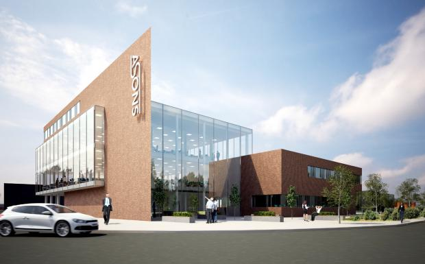 An artist's impression of the main part of the planned Asons' headquarters
