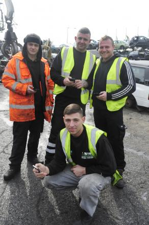 Lewis Collier, front, with colleagues, from left, Phil Dootson, Lee Tuff and Gaz Crossley