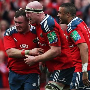 Paul O'Connell, centre, scored his first Heineken Cup try since 2009