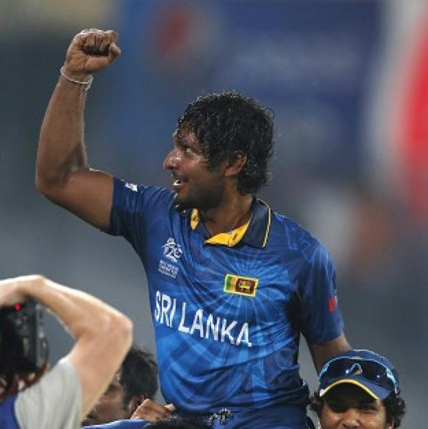 The Bolton News: Sri Lanka's Kumar Sangakkara celebrates with teammates (AP)