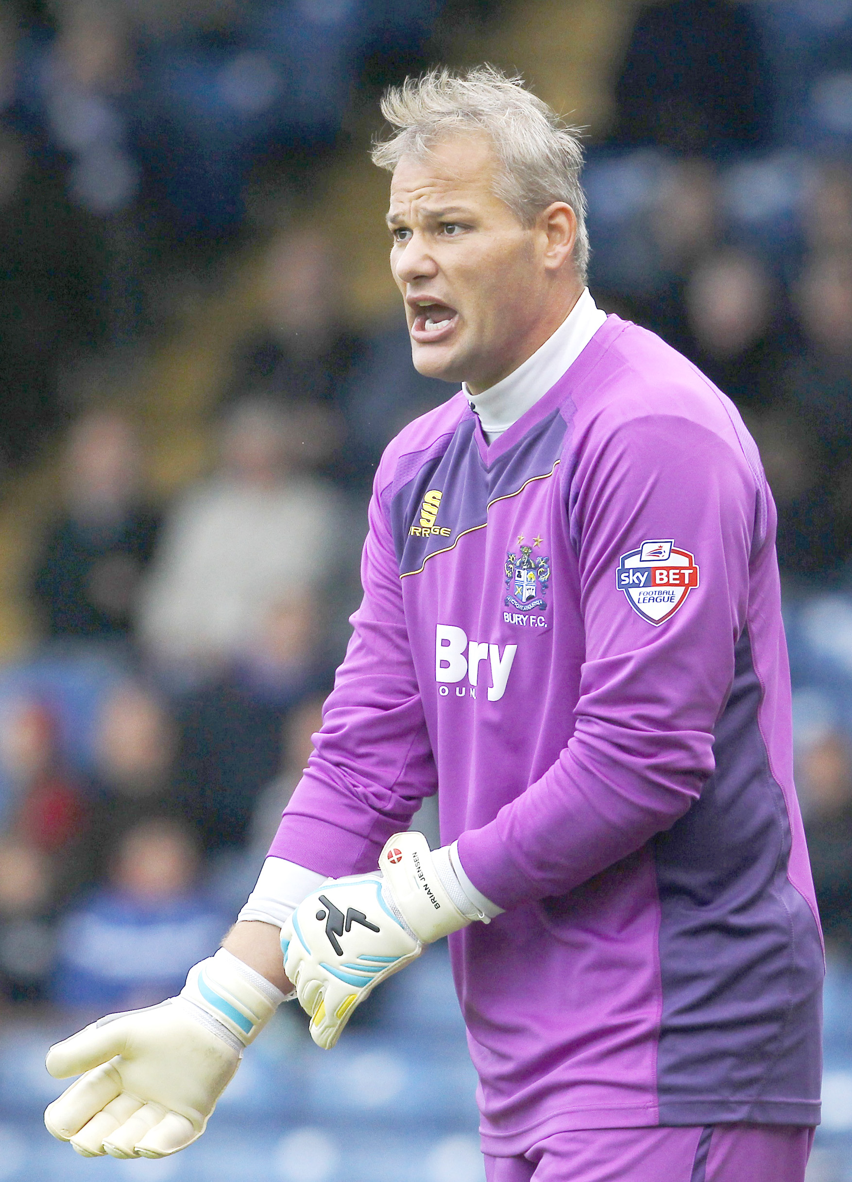 Brian Jensen playing for Bury last season