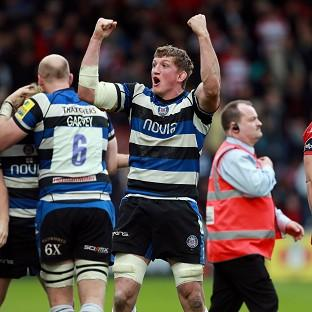 Bath captain Stuart Hooper celebrates victory at the final whistle