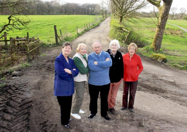 From left, residents Pat O'Donnell, Joyce Brierley, Barbara Holden and Marianne Young with Councillor John Walsh, centre, on the unadopted road at Moss Lea
