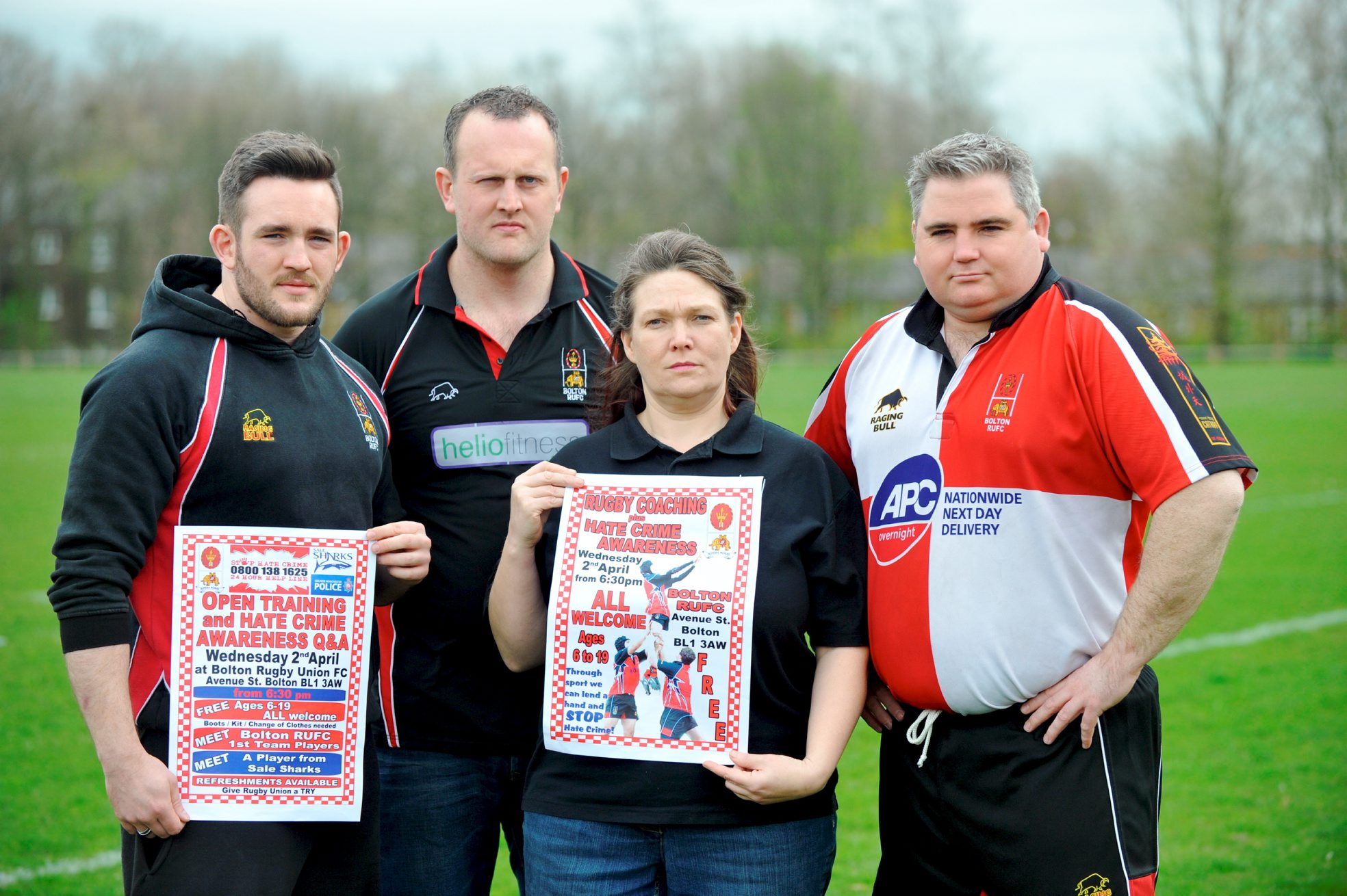 From left, rugby team players Chris Cockton and Tony McLaughlin with Eraina Smith, safeguarding officer, and Jon-Paul Hardman, senior chairman, at Bolton Rugby Union Club's campaign against Hate Crime