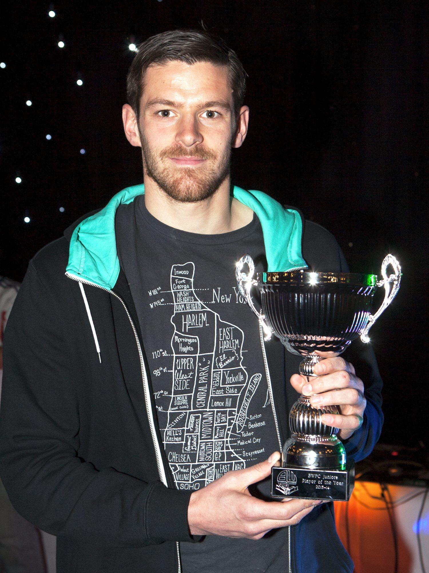 YOUNG LOVE On-loan striker Lukas Jutkiewicz picks up the BWFC Juniors player of the year award
