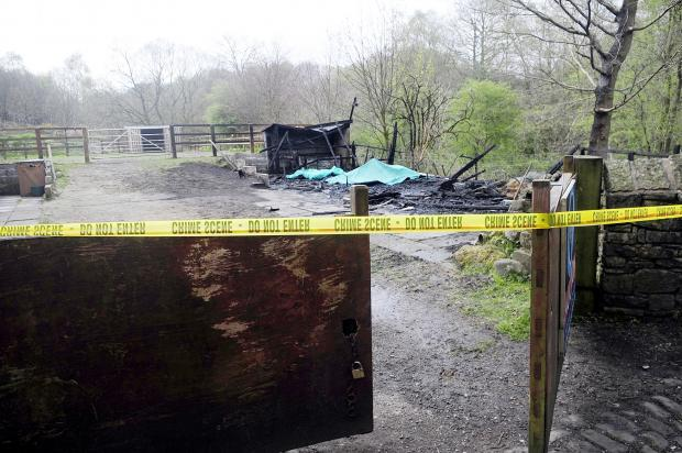The Bolton News: The stables, off Hathaway Drive, Astley Bridge, where two horses were killed in an arson attack.