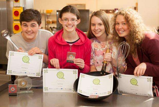 From left, young chefs Daniel Spencer, Sarah Booth, Olivia Saul and Madison Hackett
