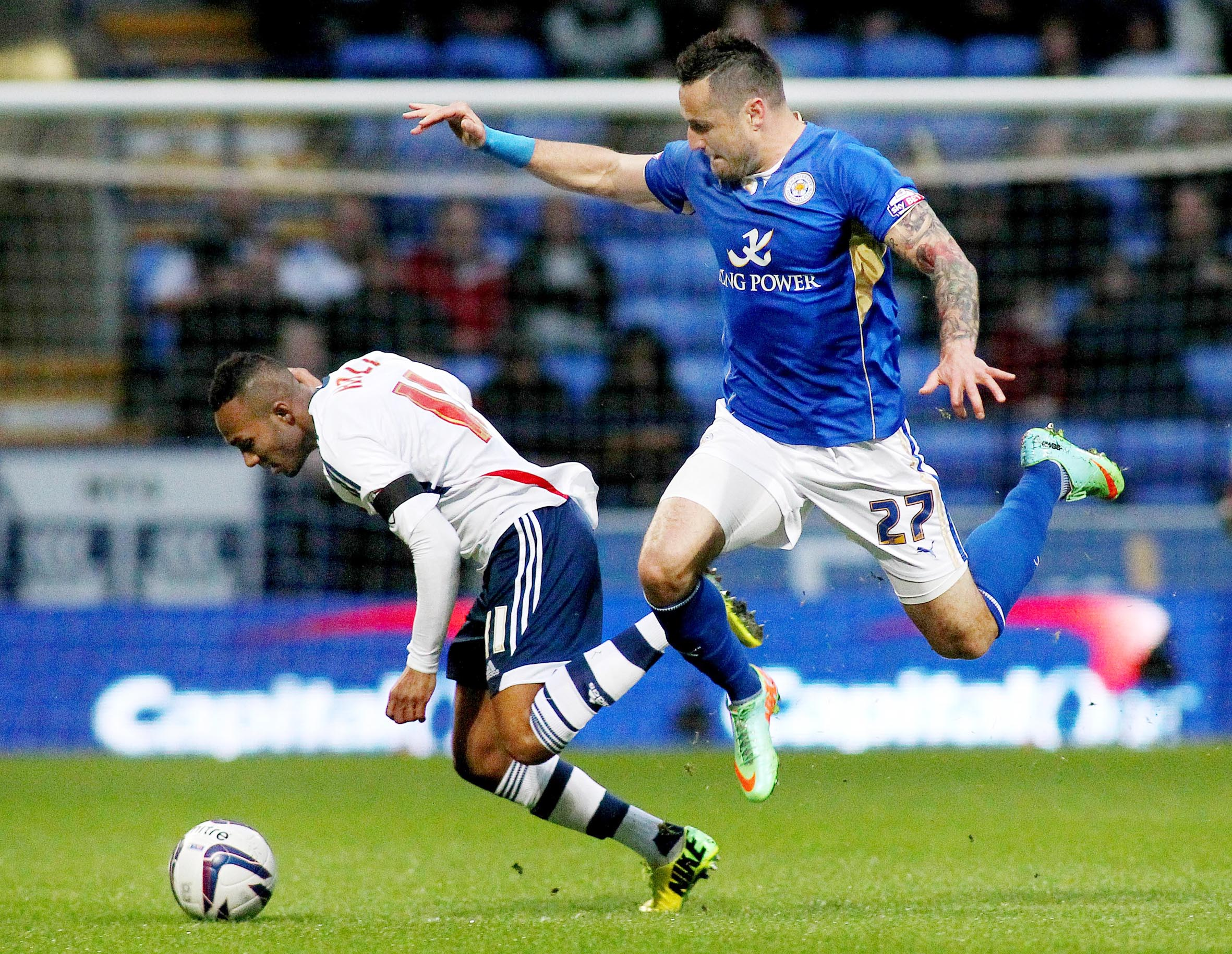 Wanderers winger Rob Hall in action against Leicester tonight