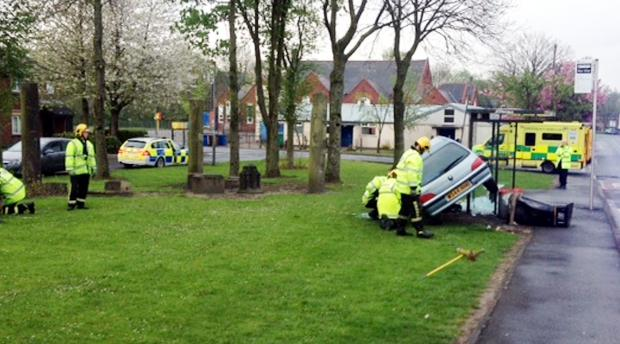 The Bolton News: The scene of the crash in Bury Street, Radcliffe