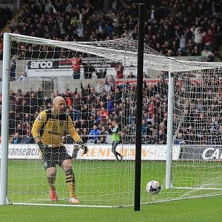 Bradley Guzan, pictured, reacts after Jonjo Shelvey beats him from 45 yards