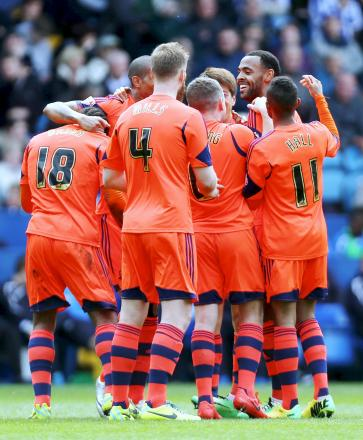 Liam Trotter, second right, celebrated with team mates after scoring the third goal for Bolton