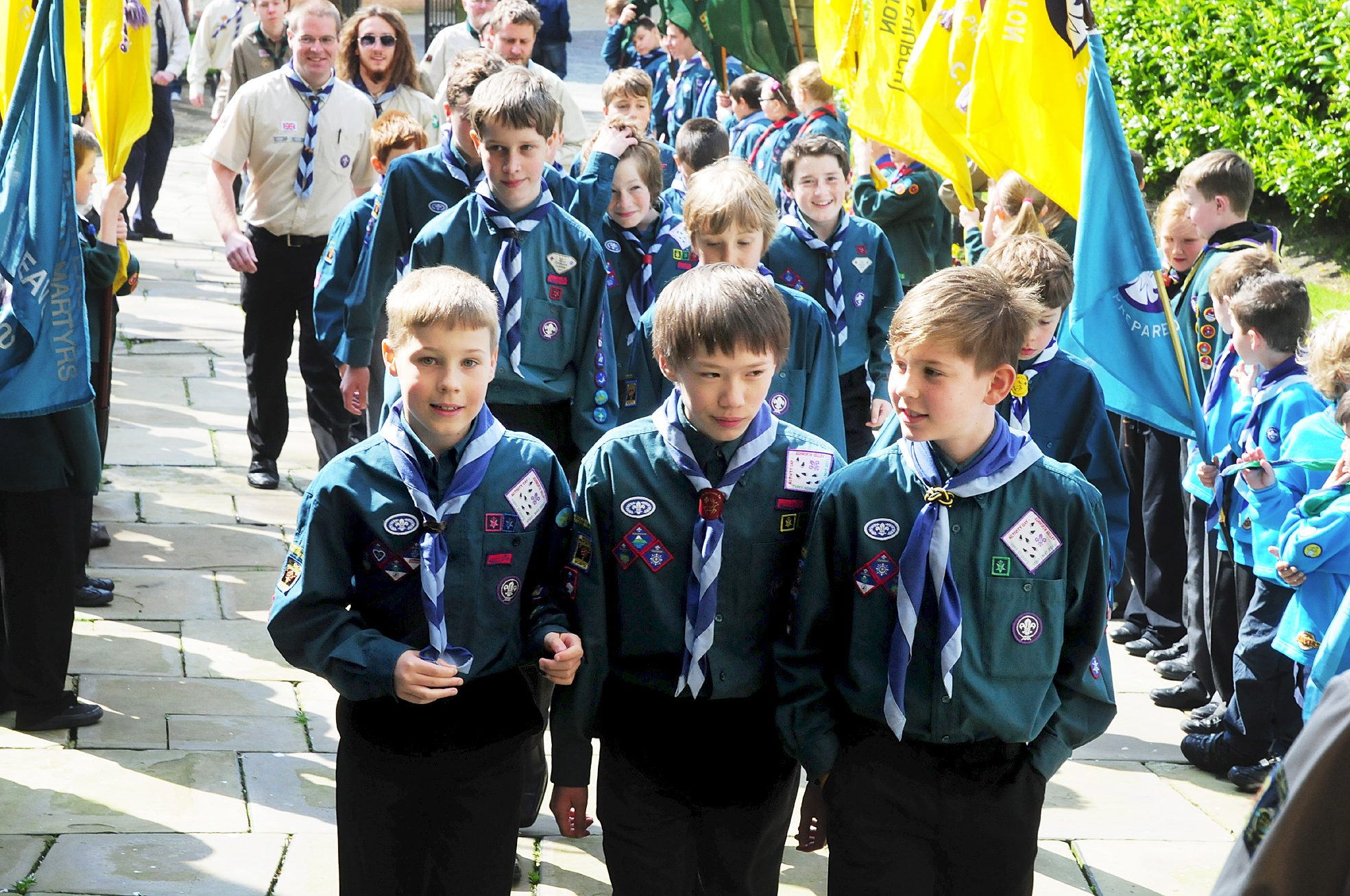 Scouts proudly fly the flag on St George's Day parade