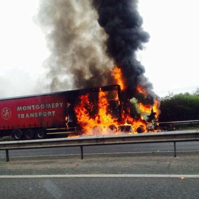 UPDATED: Two-hour delays on M61 after pet food lorry catches fire near Rivington services