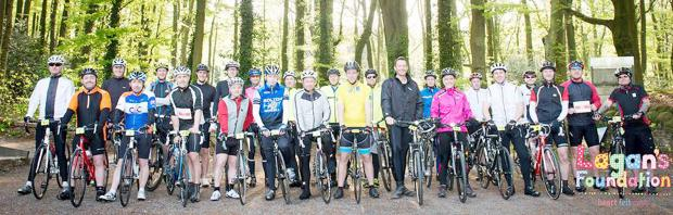 The Bolton News: cyclists before the 42-mile cycle rid in aid of Lagan's Foundation. Picture: Creative Camera