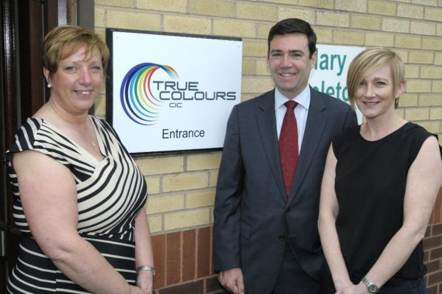 True Colours directors Michelle Campbell and Marian Milling with patron Leigh MP Andy Burnham