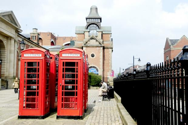 The grade-II listed phone boxes in Bridge Street, Bolton