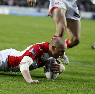 St Helens playmaker Luke Walsh scores a try