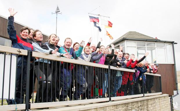 The Bolton News: Members of Bolton Sailing Club celebrate the grant