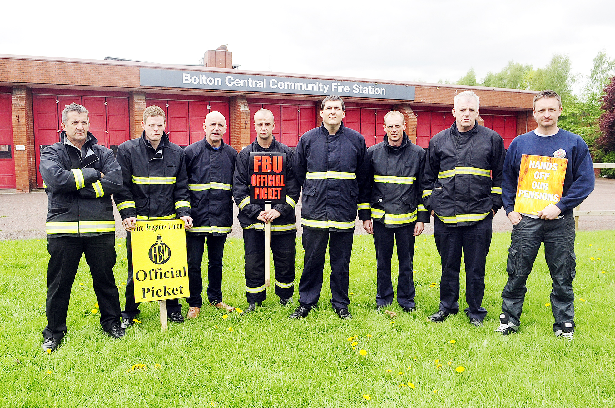 Firefighters on the picket line at Bolton Central Fire Station