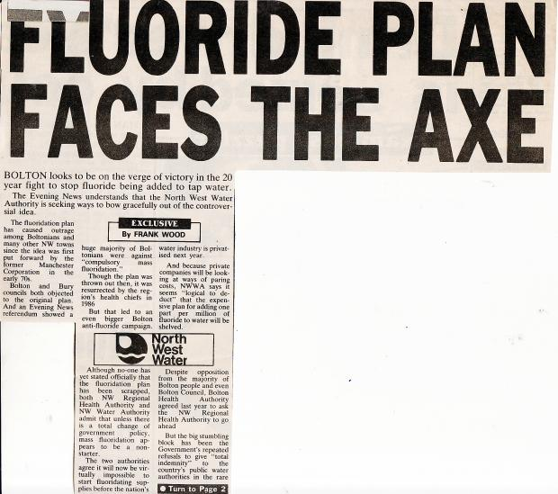 The Bolton News: The much-debated fluoridation issue has been reported in The Bolton News and the Bolton Evening News for many years