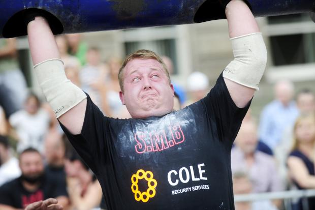 Josh Ainscough during this year's Strongman Bolton competition in Victoria Square