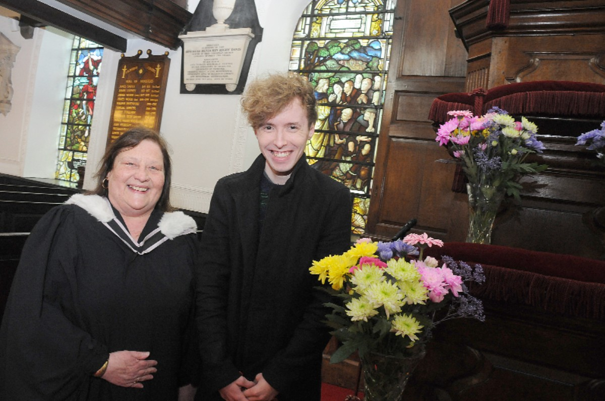 Luke Hupton with the Rev Brenda Catterall at Chowbent Chapel
