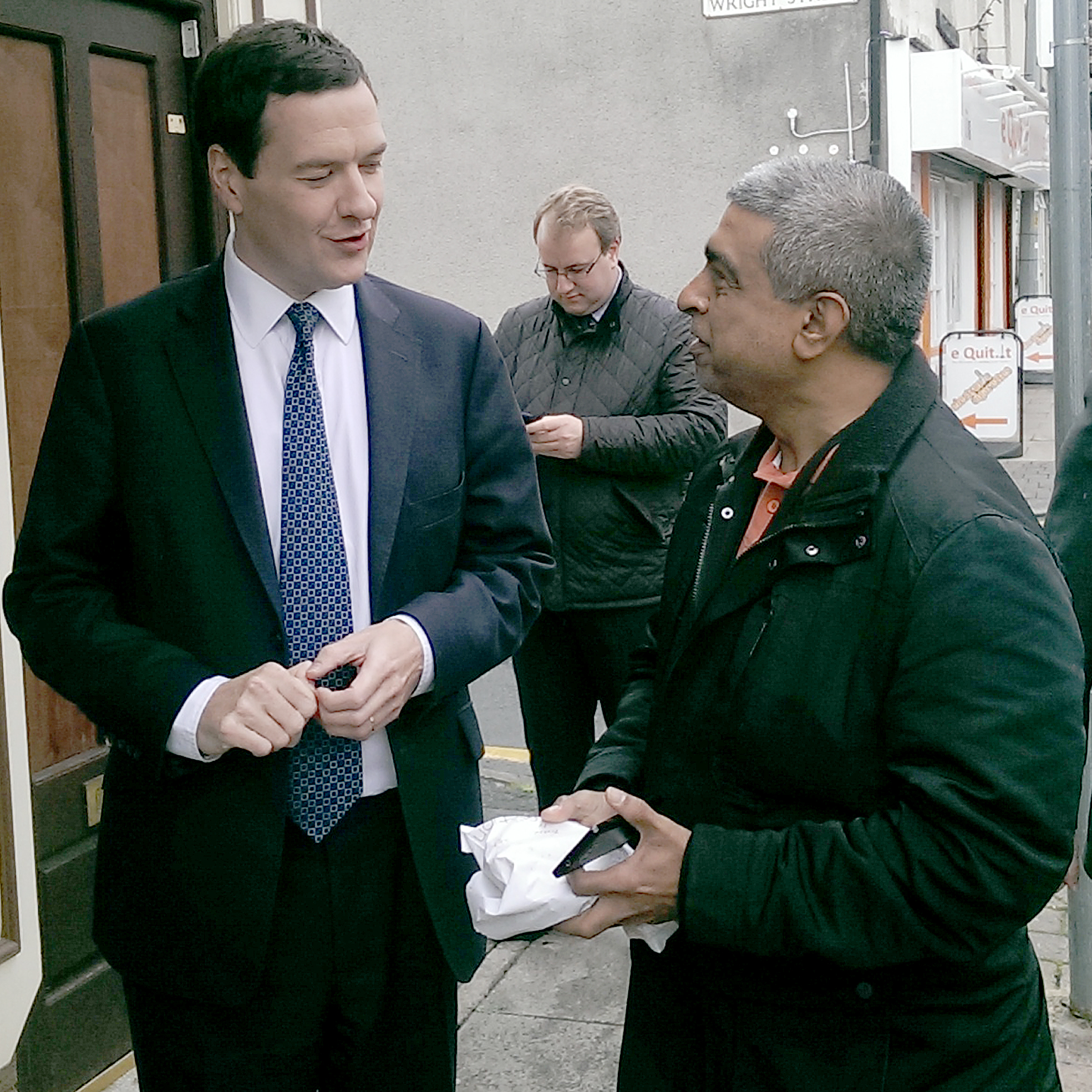 George Osborne visits Horwich. Man offers him pie. He politely declines.