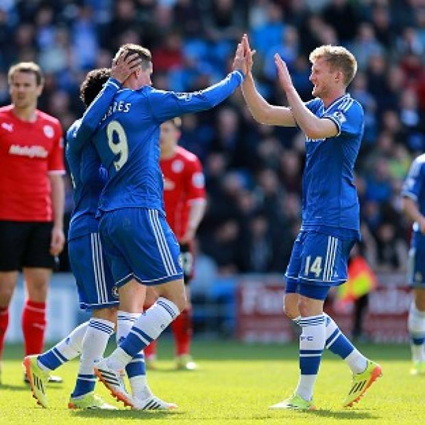 The Bolton News: Chelsea's Fernando Torres, left, scored his first Premier League goal since January