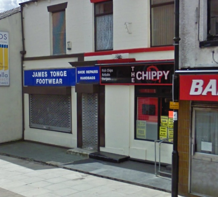 The Chippy in Market Street, Westhoughton, one of the businesses where Craig Jeffery smashed a window. Pi