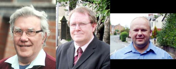 The three candidates in the Horwich Town Council by-election, from left, Peter McGeehan, Doug Bagnall and Glen Atkinson
