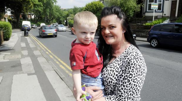 Stella Wright, with son Finlay, aged two, in Thicketford Road