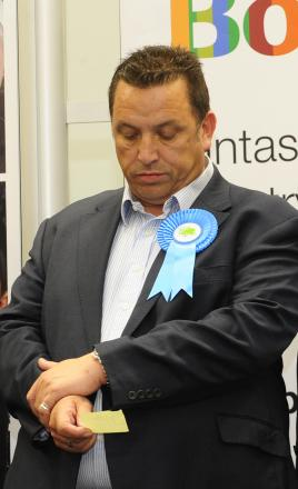 Senior Bolton Conservative Andy Morgan looking dejected as he realises he has lost his seat to UKIP