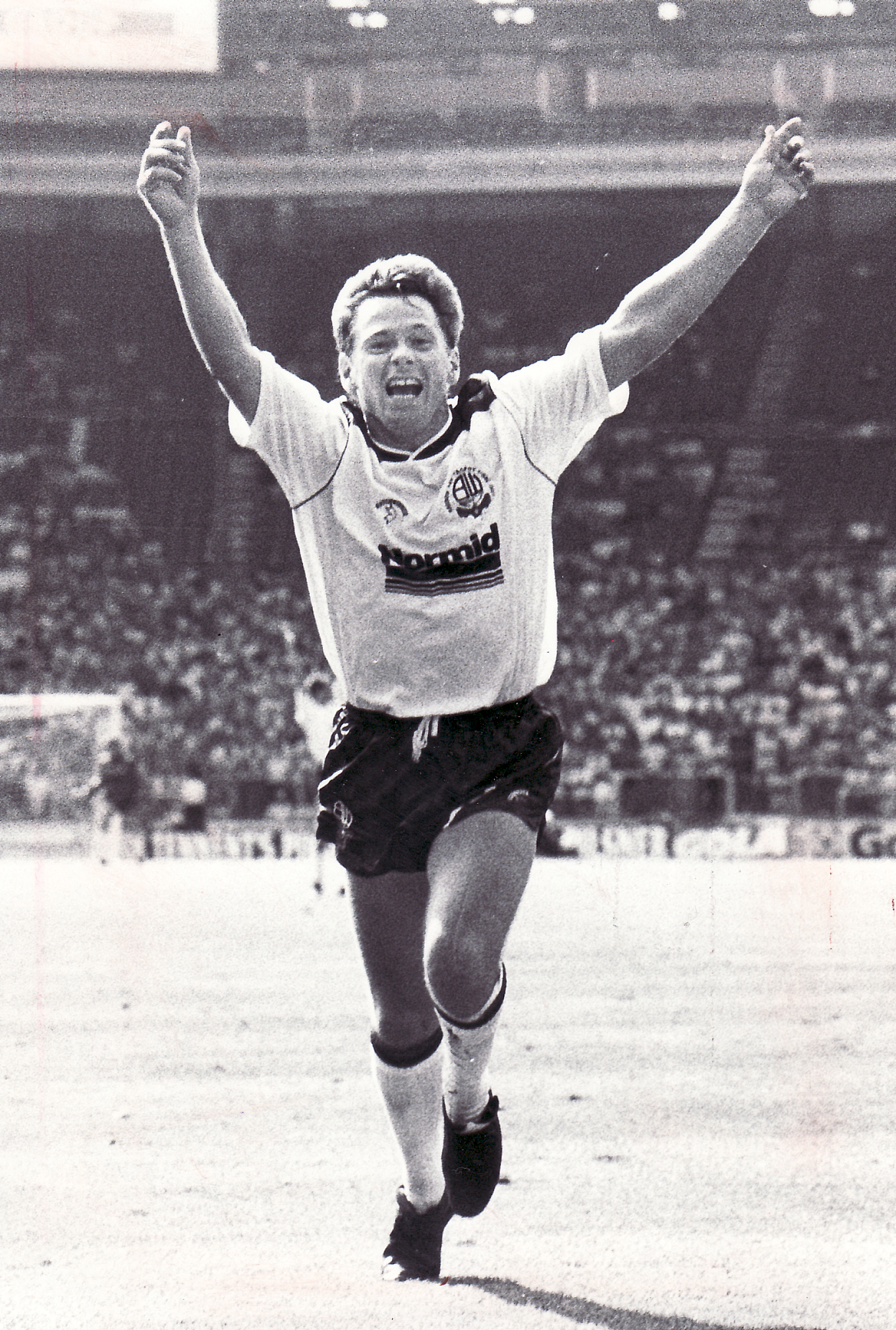 PARTY TIME Jeff Chandler sums up how every Bolton fan was feeling at Wembley as he celebrates his goal