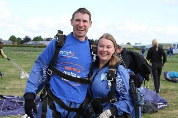 The Bolton News: Peter and Vikki straight after their charity skydive