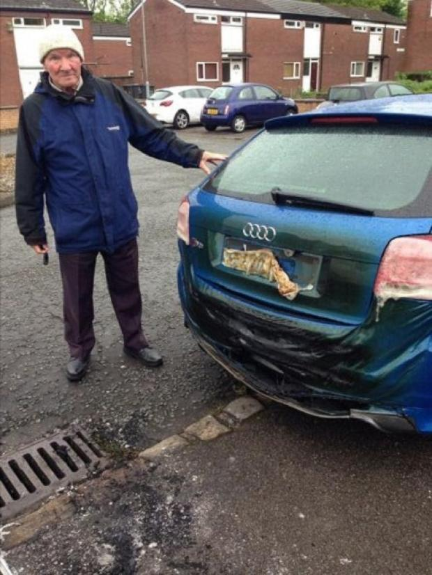 The Bolton News: James Roper, aged 80, with his grandson's Audi S3