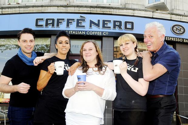 Outside Caffe Nero in the town centre are from left, James Edgington, Samantha Peacock, Kerensa Brown, Katie Lucas and Graham Edgington